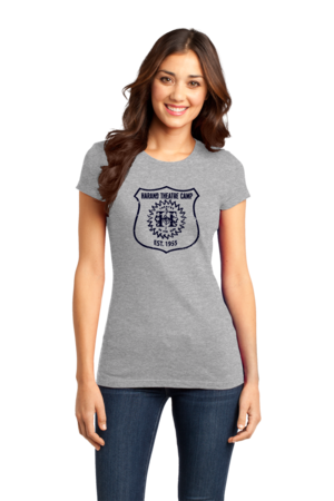 Harand Theatre Camp - Full Chest Navy Shield Logo Girly Grey Stock Model Front 1
