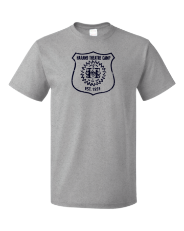 Harand Theatre Camp - Full Chest Navy Shield Logo Unisex Grey Blank with Depth