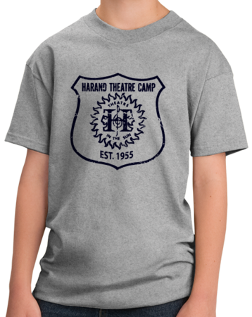Harand Theatre Camp - Full Chest Navy Shield Logo Youth Grey Stock Model Front 1 Thumb