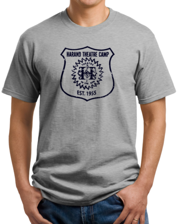 Harand Theatre Camp - Full Chest Navy Shield Logo Unisex Grey Stock Model Front 1 Thumb