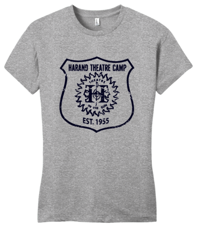 Harand Theatre Camp - Full Chest Navy Shield Logo Girly Grey Blank with Depth