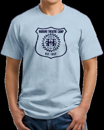 Harand Theatre Camp - Full Chest Navy Shield Logo Unisex Light blue Stock Model Front 1 Thumb