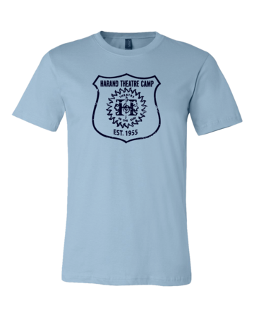 Harand Theatre Camp - Full Chest Navy Shield Logo Standard Light blue Blank with Depth