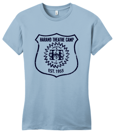 Harand Theatre Camp - Full Chest Navy Shield Logo Girly Light blue Blank with Depth