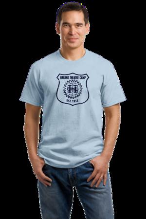Harand Theatre Camp - Full Chest Navy Shield Logo Unisex Light blue Stock Model Front 1