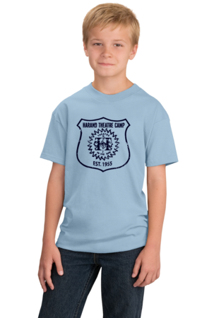 Harand Theatre Camp - Full Chest Navy Shield Logo Youth Light blue Stock Model Front 1