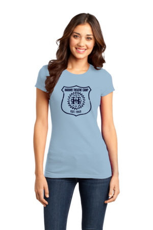 Harand Theatre Camp - Full Chest Navy Shield Logo Girly Light blue Stock Model Front 1