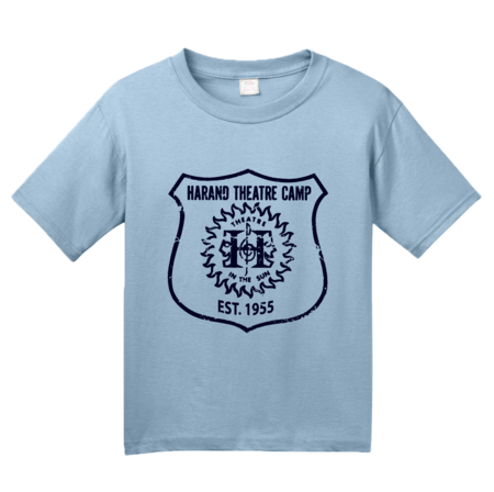 Harand Theatre Camp - Full Chest Navy Shield Logo Youth Light blue Blank with Depth