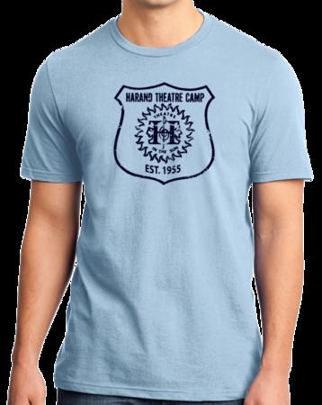 Harand Theatre Camp - Full Chest Navy Shield Logo Standard Light blue Stock Model Front 1 Thumb