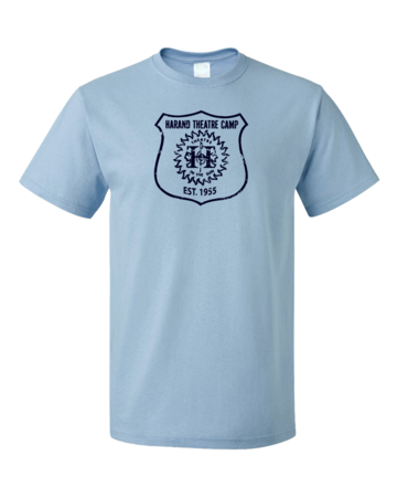 Harand Theatre Camp - Full Chest Navy Shield Logo Unisex Light blue Blank with Depth