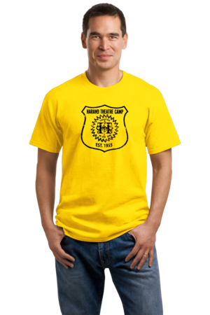 Harand Theatre Camp - Full Chest Navy Shield Logo Unisex Yellow Stock Model Front 1