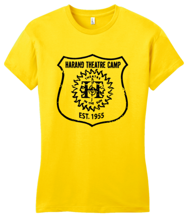 Harand Theatre Camp - Full Chest Navy Shield Logo Girly Yellow Blank with Depth
