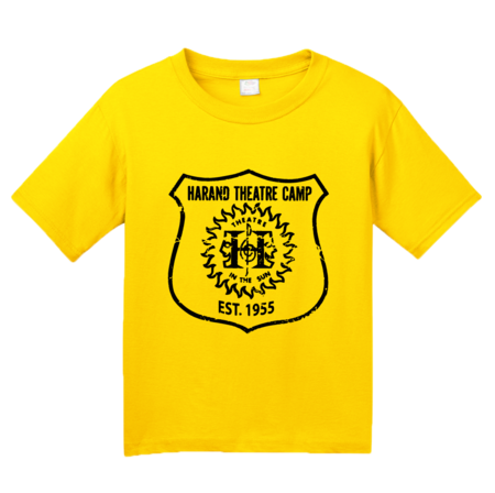 Harand Theatre Camp - Full Chest Navy Shield Logo Youth Yellow Blank with Depth