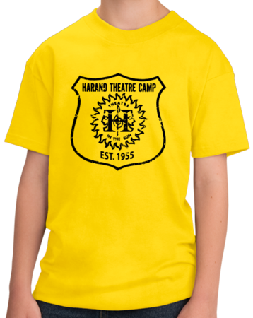 Harand Theatre Camp - Full Chest Navy Shield Logo Youth Yellow Stock Model Front 1 Thumb