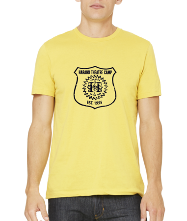 Harand Theatre Camp - Full Chest Navy Shield Logo Standard Yellow Stock Model Front 1 Thumb