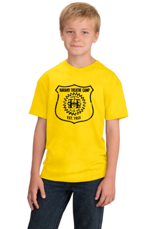 Harand Theatre Camp - Full Chest Navy Shield Logo Youth Yellow Stock Model Front 1