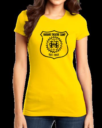 Harand Theatre Camp - Full Chest Navy Shield Logo Girly Yellow Stock Model Front 1 Thumb