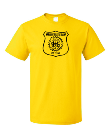 Harand Theatre Camp - Full Chest Navy Shield Logo Unisex Yellow Blank with Depth