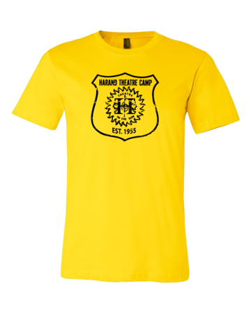 Harand Theatre Camp - Full Chest Navy Shield Logo Standard Yellow Blank with Depth