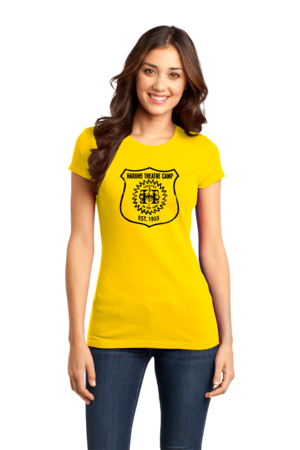 Harand Theatre Camp - Full Chest Navy Shield Logo Girly Yellow Stock Model Front 1