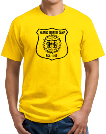 Harand Theatre Camp - Full Chest Navy Shield Logo Unisex Yellow Stock Model Front 1 Thumb