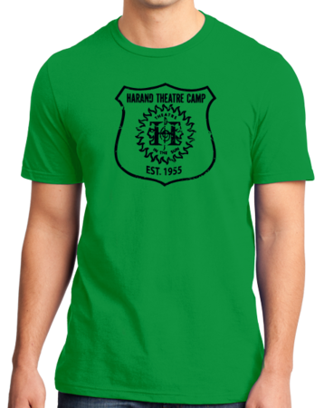 Harand Theatre Camp - Full Chest Navy Shield Logo Standard Green Stock Model Front 1 Thumb