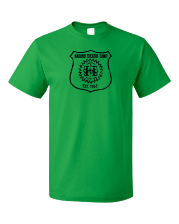 Harand Theatre Camp - Full Chest Navy Shield Logo Unisex Green Blank with Depth