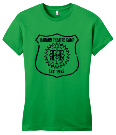 Harand Theatre Camp - Full Chest Navy Shield Logo Girly Green Blank with Depth