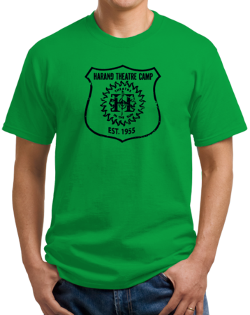 Harand Theatre Camp - Full Chest Navy Shield Logo Unisex Green Stock Model Front 1 Thumb