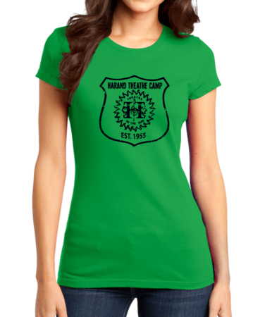 Harand Theatre Camp - Full Chest Navy Shield Logo Girly Green Stock Model Front 1 Thumb
