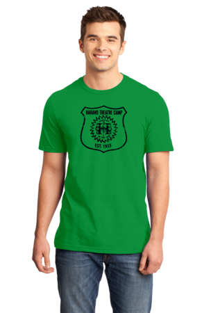 Harand Theatre Camp - Full Chest Navy Shield Logo Standard Green Stock Model Front 1