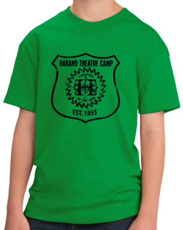 Harand Theatre Camp - Full Chest Navy Shield Logo Youth Green Stock Model Front 1 Thumb