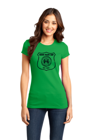 Harand Theatre Camp - Full Chest Navy Shield Logo Girly Green Stock Model Front 1