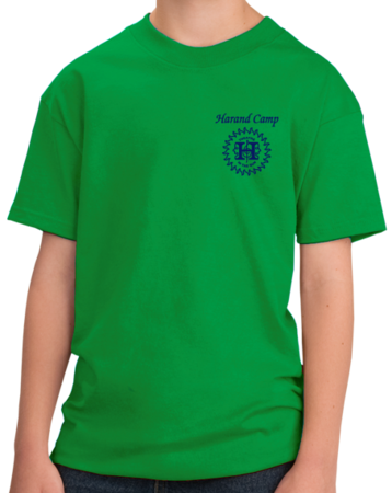 Harand Theatre Camp - Sun Logo Left Chest Royal Print Youth Green Stock Model Front 1 Thumb