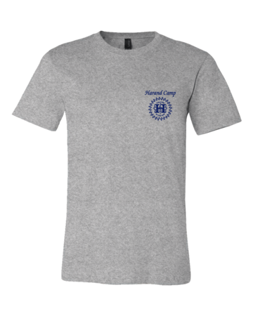 Harand Theatre Camp - Sun Logo Left Chest Royal Print Standard Grey Blank with Depth