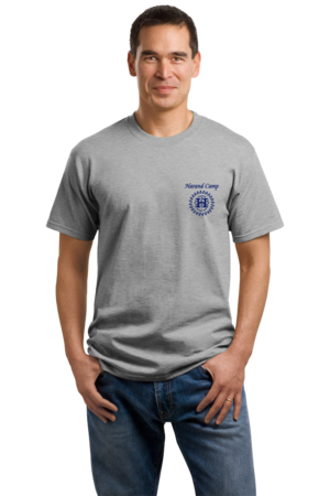 Harand Theatre Camp - Sun Logo Left Chest Royal Print Unisex Grey Stock Model Front 1