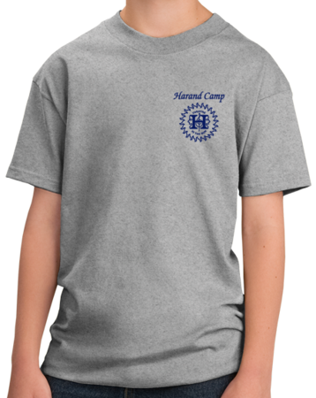 Harand Theatre Camp - Sun Logo Left Chest Royal Print Youth Grey Stock Model Front 1 Thumb