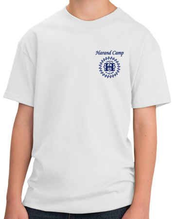 Harand Theatre Camp - Sun Logo Left Chest Royal Print Youth White Stock Model Front 1 Thumb