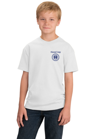 Harand Theatre Camp - Sun Logo Left Chest Royal Print Youth White Stock Model Front 1