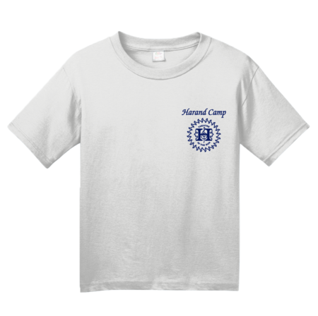 Harand Theatre Camp - Sun Logo Left Chest Royal Print Youth White Blank with Depth