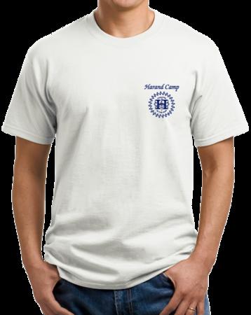 Harand Theatre Camp - Sun Logo Left Chest Royal Print Unisex White Stock Model Front 1 Thumb
