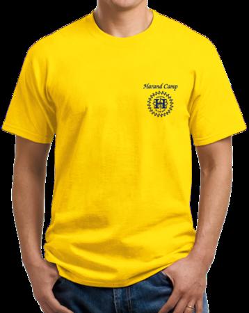 Harand Theatre Camp - Sun Logo Left Chest Royal Print Unisex Yellow Stock Model Front 1 Thumb
