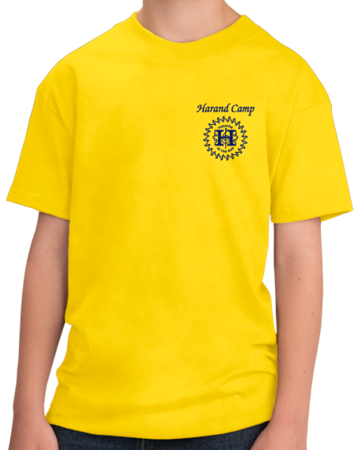 Harand Theatre Camp - Sun Logo Left Chest Royal Print Youth Yellow Stock Model Front 1 Thumb