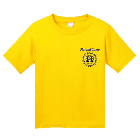 Harand Theatre Camp - Sun Logo Left Chest Royal Print Youth Yellow Blank with Depth