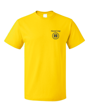 Harand Theatre Camp - Sun Logo Left Chest Royal Print Unisex Yellow Blank with Depth