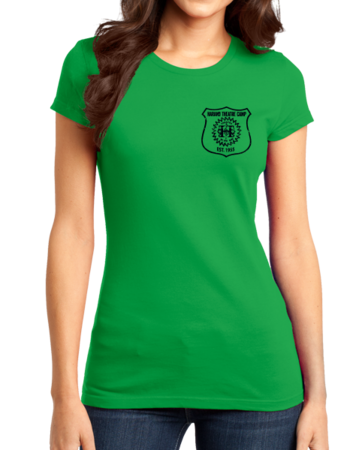 Harand Theatre Camp - Left Chest Navy Shield Logo Girly Green Stock Model Front 1 Thumb