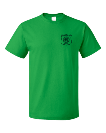 Harand Theatre Camp - Left Chest Navy Shield Logo Unisex Green Blank with Depth