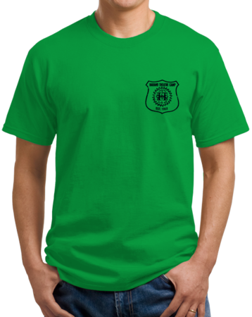 Harand Theatre Camp - Left Chest Navy Shield Logo Unisex Green Stock Model Front 1 Thumb