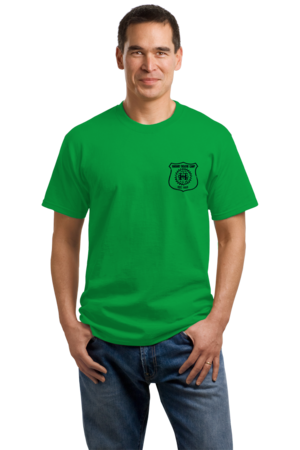 Harand Theatre Camp - Left Chest Navy Shield Logo Unisex Green Stock Model Front 1
