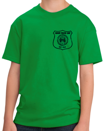 Harand Theatre Camp - Left Chest Navy Shield Logo Youth Green Stock Model Front 1 Thumb